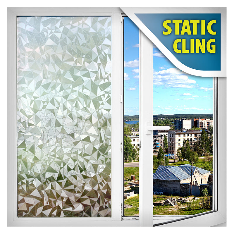 BDF 1C31 3D Geometric Decorative Privacy Static Cling Window Film Non Adhesive Kitchen Home Office