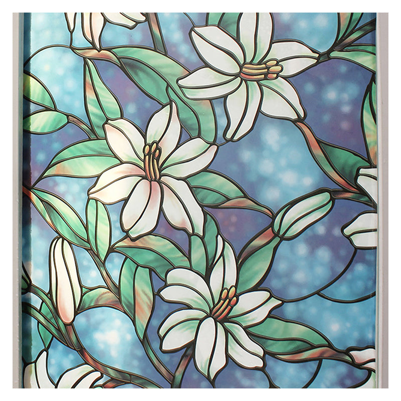 BDF 1CGB Floral Stained Glass Static Cling Window Film Non Adhesive Kitchen Home