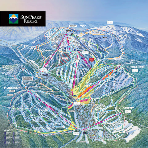 "Sun Peaks 2020/21 Trail Map 24"" x 24"" Photographic Print"
