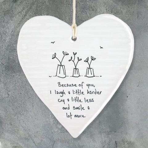 Because of you - Round Heart Porcelain Hanger