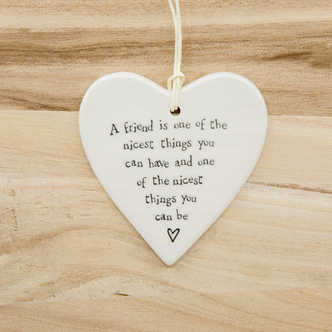 A friend - Round Heart Porcelain Hanger