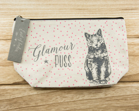 Glamour Puss - Canvas Cosmetic Bag