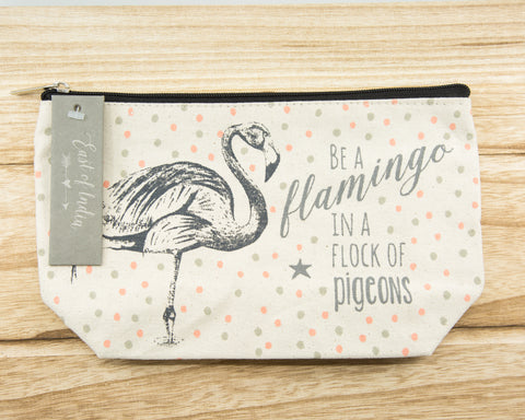 Be a flamingo in a flock of pigeons - Canvas Cosmetic Bag
