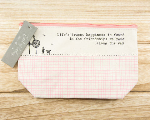 Life's truest happiness...- Canvas Cosmetic Bag