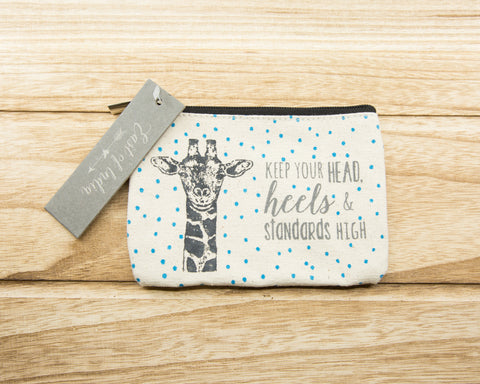 Keep your head, heels, & standards high - Canvas Purse