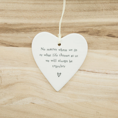 Always be together - Round Heart Porcelain Hanger