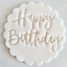 Load image into Gallery viewer, Happy Birthday Fondant Topper to sit above one cupcake