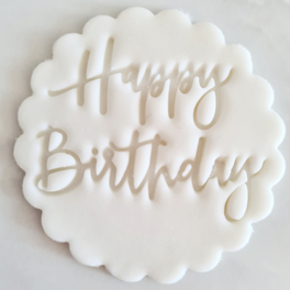 Happy Birthday Fondant Topper to sit above one cupcake