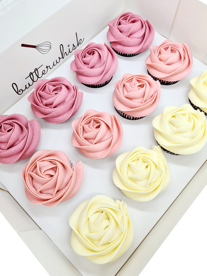 Vanilla buttercream ombre roses on vanilla, chocolate, or red velvet cupcakes  12 cupcakes per box
