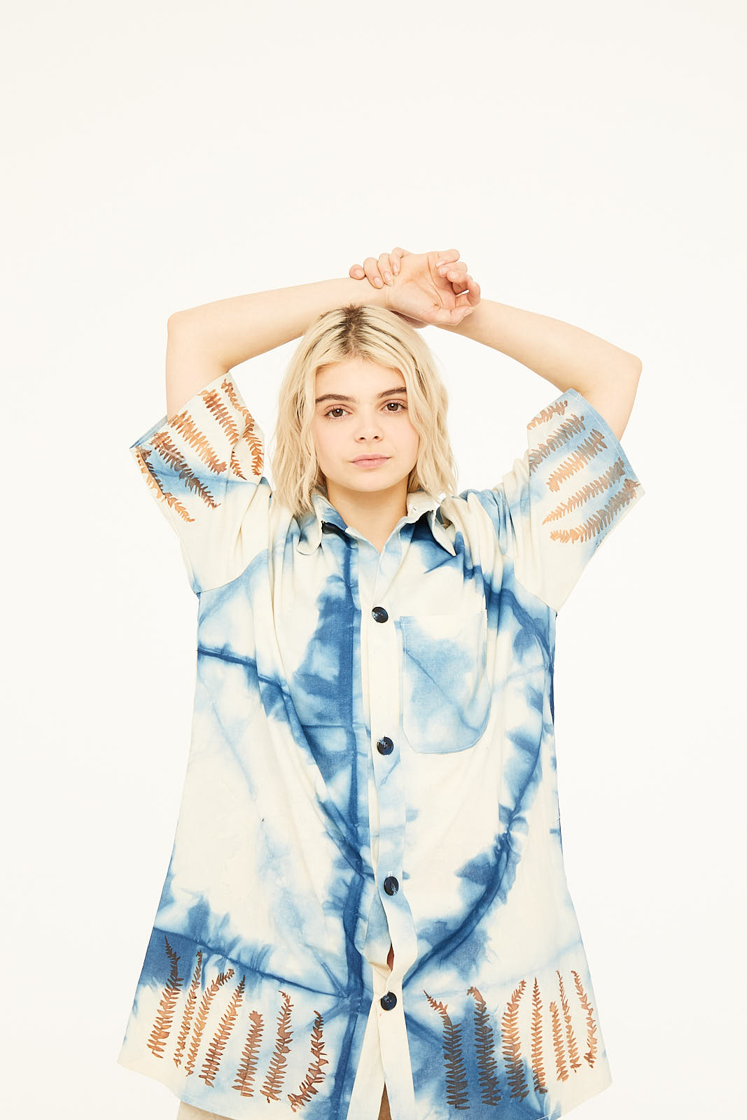 Unisex Naturally dyed Indigo & Madder Root and Seaweed Screen Print Shirt