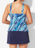 CHLORINE RESISTANT SEA GLASS SPORT TANKINI WITH NAVY SKIRT