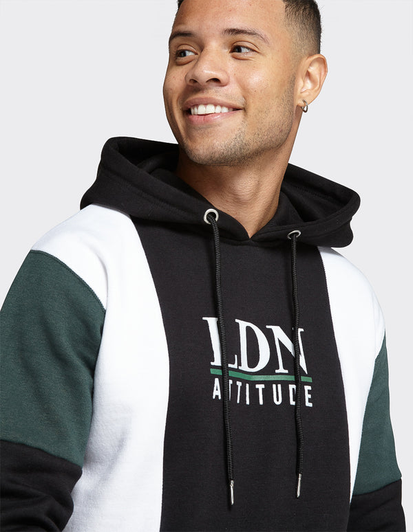 Navy Colour Block OTH Cut & Sew 'LDN ATD' print Hoodie