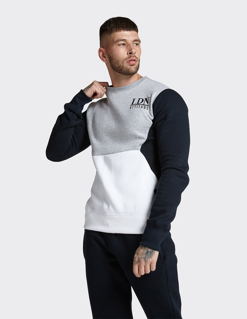 Navy colour block cut & sew sweatshirt