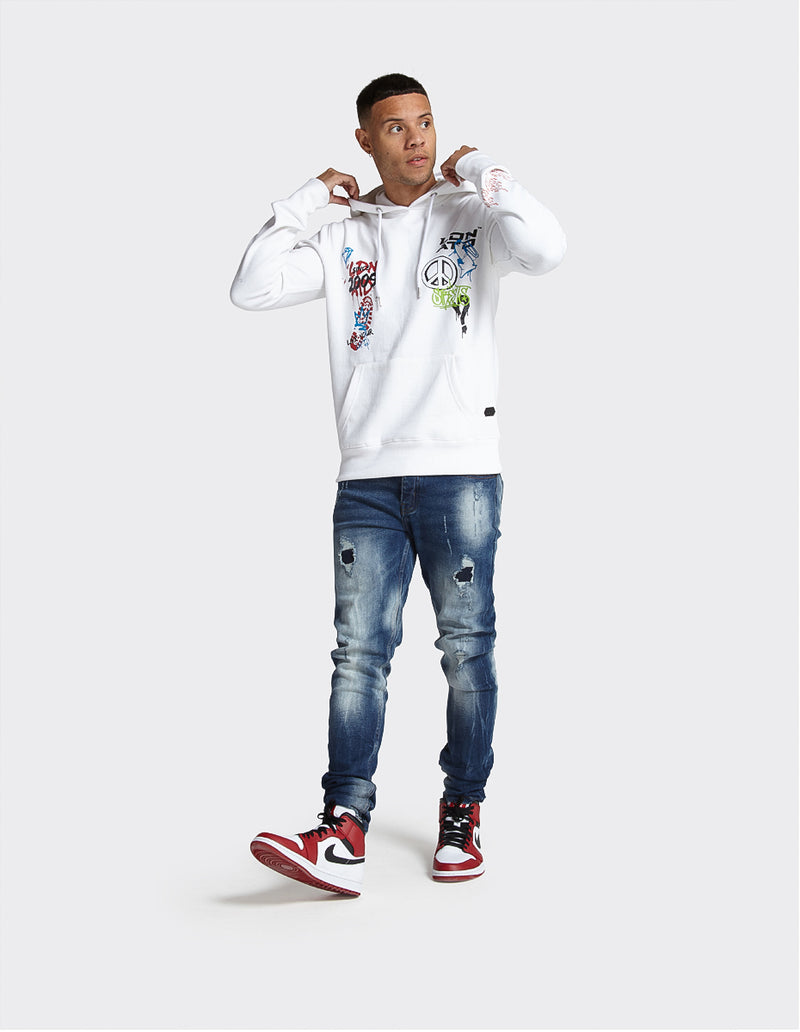 London Attitude Graffiti Print OTH Hoodie in White