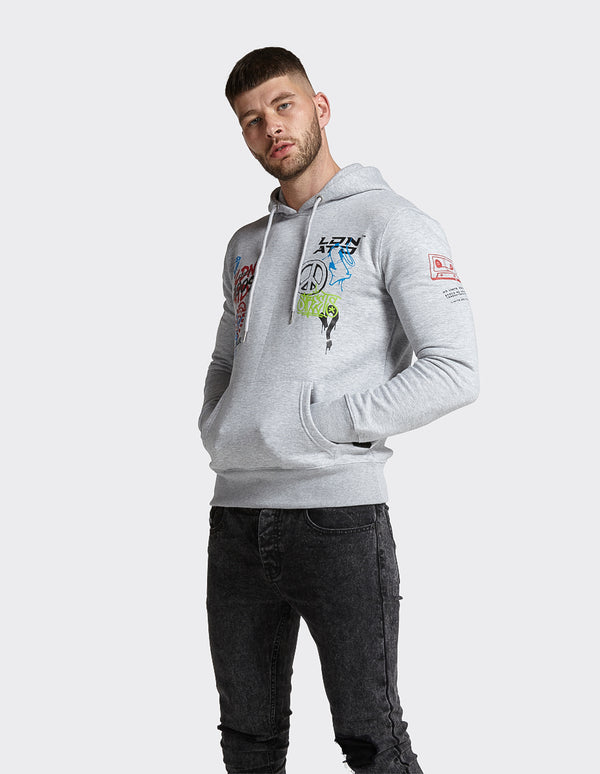 London Attitude Graffiti Print OTH Hoodie in Grey Marl
