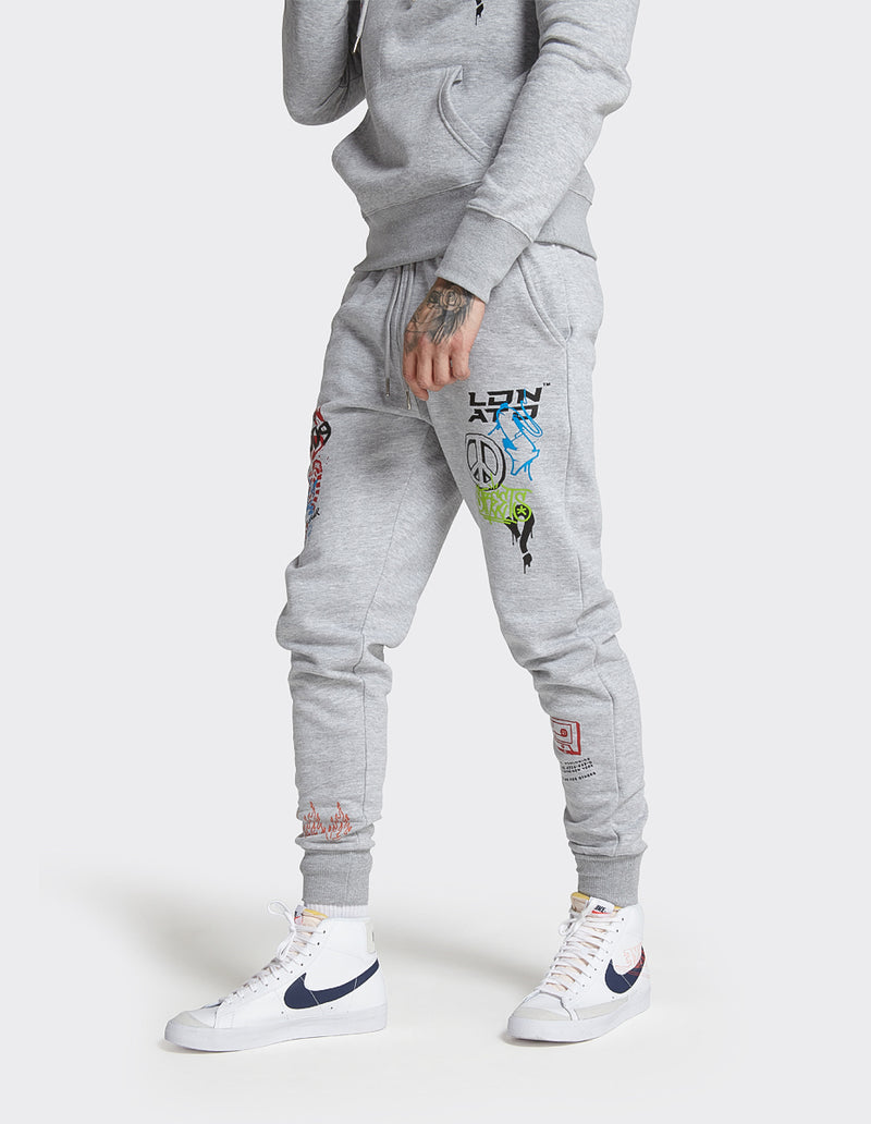 London Attitude Graffiti Print Joggers in Grey Marl