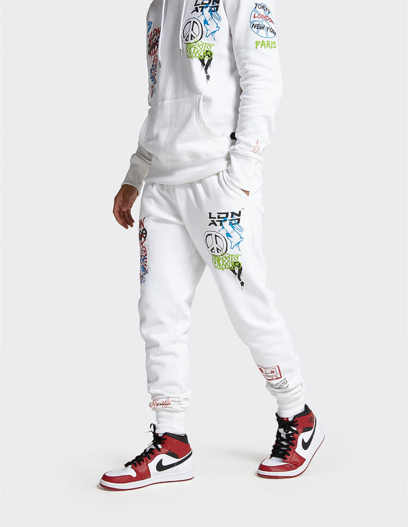 London Attitude Graffiti Print Joggers in  White colour