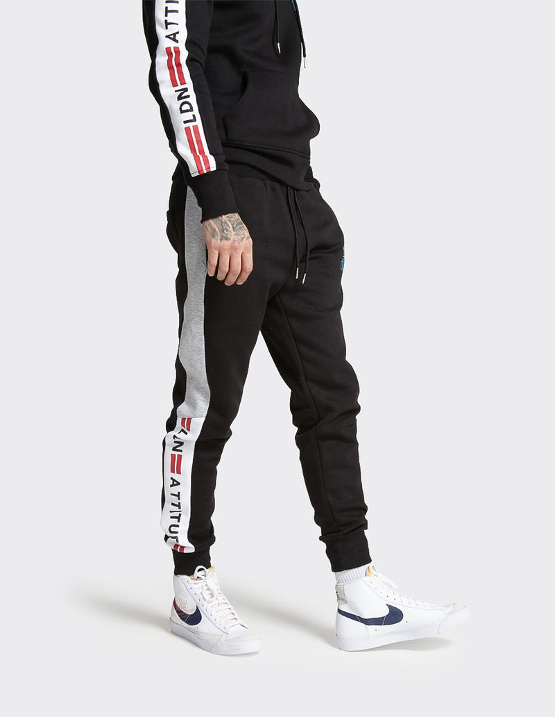 Black 'LDN ATTITUDE' Taped Joggers