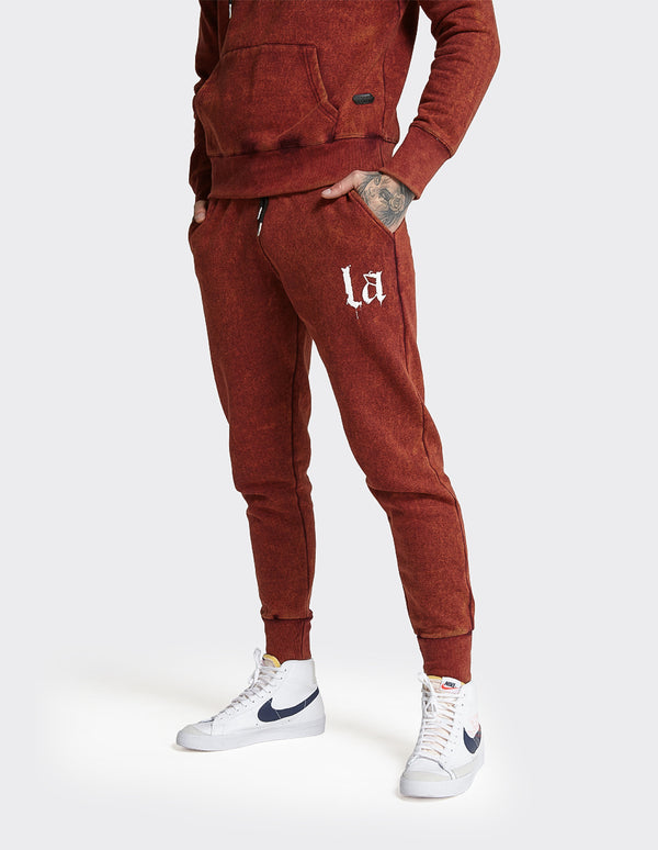 Burgundy Acid Wash  'LA' printed joggers