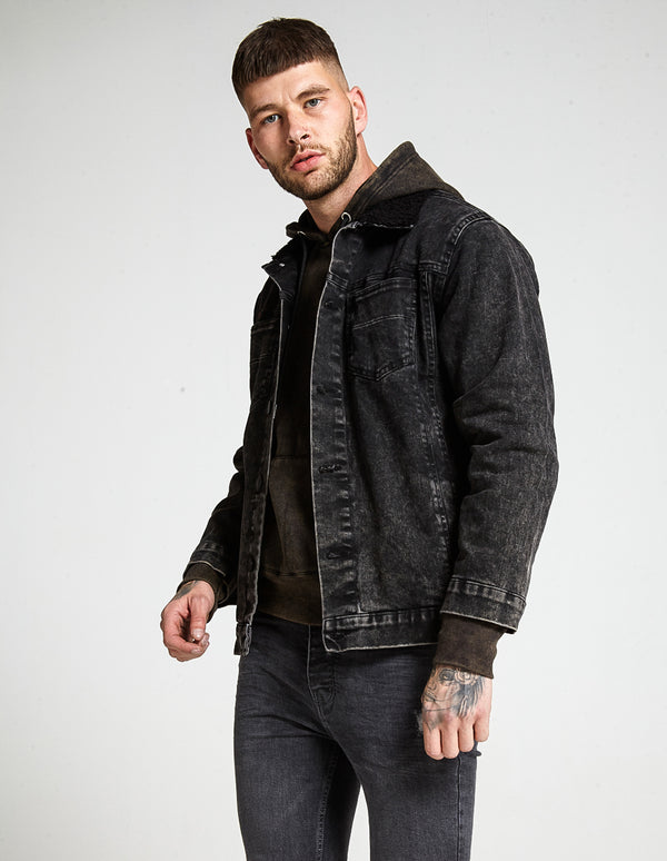 Black Denim Jacket with Black Borg collar
