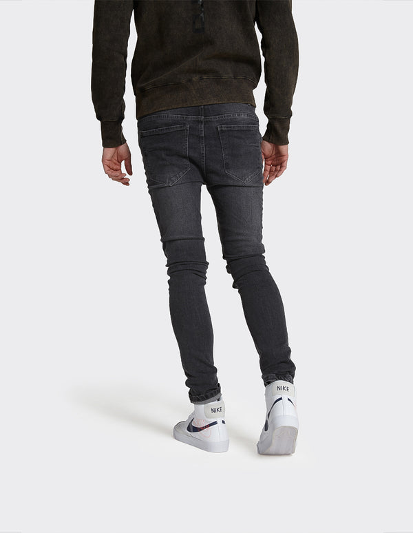 Skinny Fit Distress Jeans in Vintage Washed Black