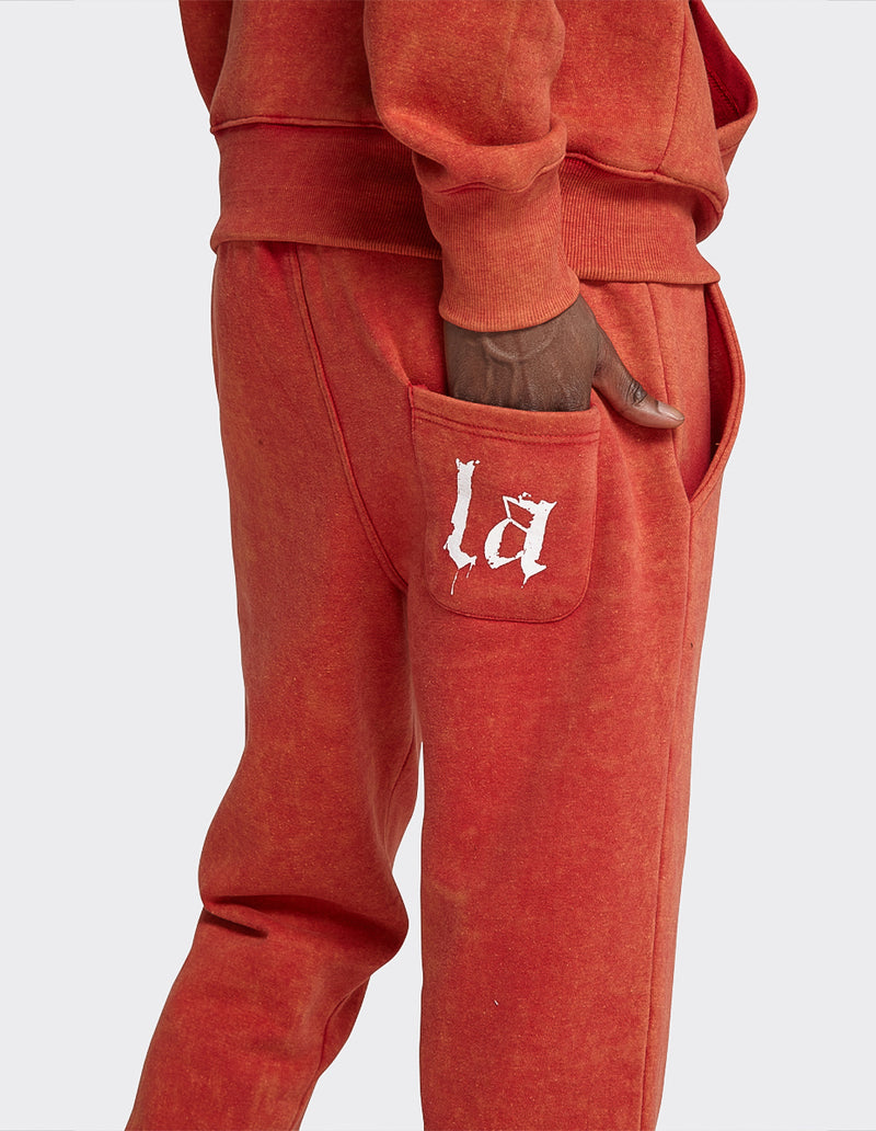 Red Acid Wash  'LA' printed joggers