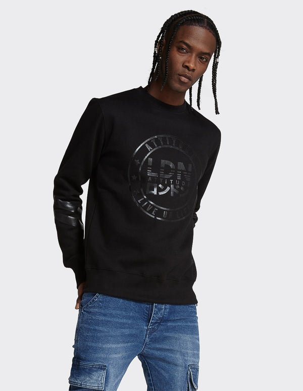 Black Sleeve Print Sweatshirt