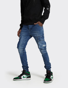 Stretch Cargo Joggers Jeans in Mid Blue Random Acid  Wash