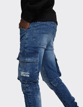 Load image into Gallery viewer, Stretch Cargo Joggers Jeans in Mid Blue Random Acid  Wash