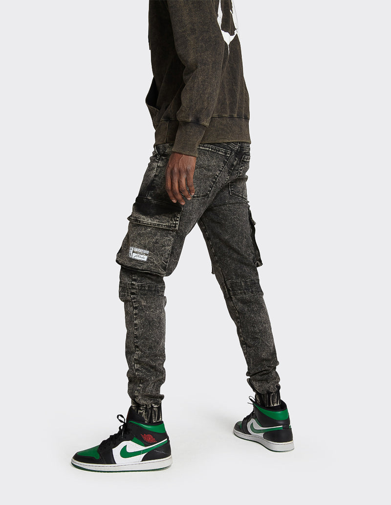 Stretch Slim Utility Cargo Jogger Jeans in Black Random Acid Wash