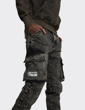 Load image into Gallery viewer, Stretch Slim Utility Cargo Jogger Jeans in Black Random Acid Wash