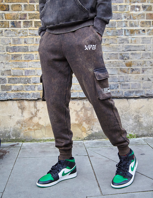 Acid Wash Limited Edition Utility Cargo Joggers with  LDN ATD Print