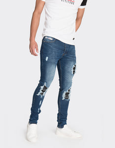 Blue skinny fit distressed jeans