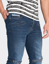 Load image into Gallery viewer, Dark Blue skinny fit biker jeans