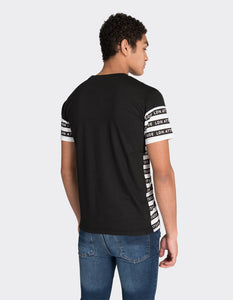 Black multistripe printed t-shirt