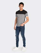 Load image into Gallery viewer, Black multistripe printed t-shirt