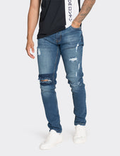 Load image into Gallery viewer, Blue slim fit knee patch jeans