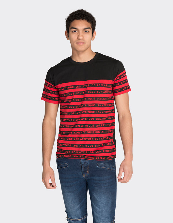 Red multistripe printed t-shirt