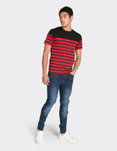Load image into Gallery viewer, Red multistripe printed t-shirt