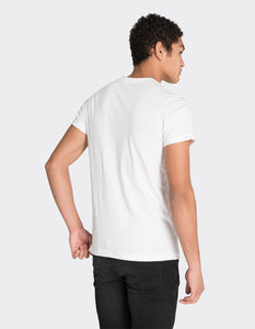 White vertical stripe print t-shirt
