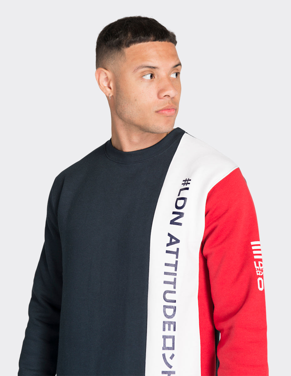 Navy colour blocked sweatshirt