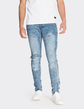 Load image into Gallery viewer, Blue skinny fit biker jeans