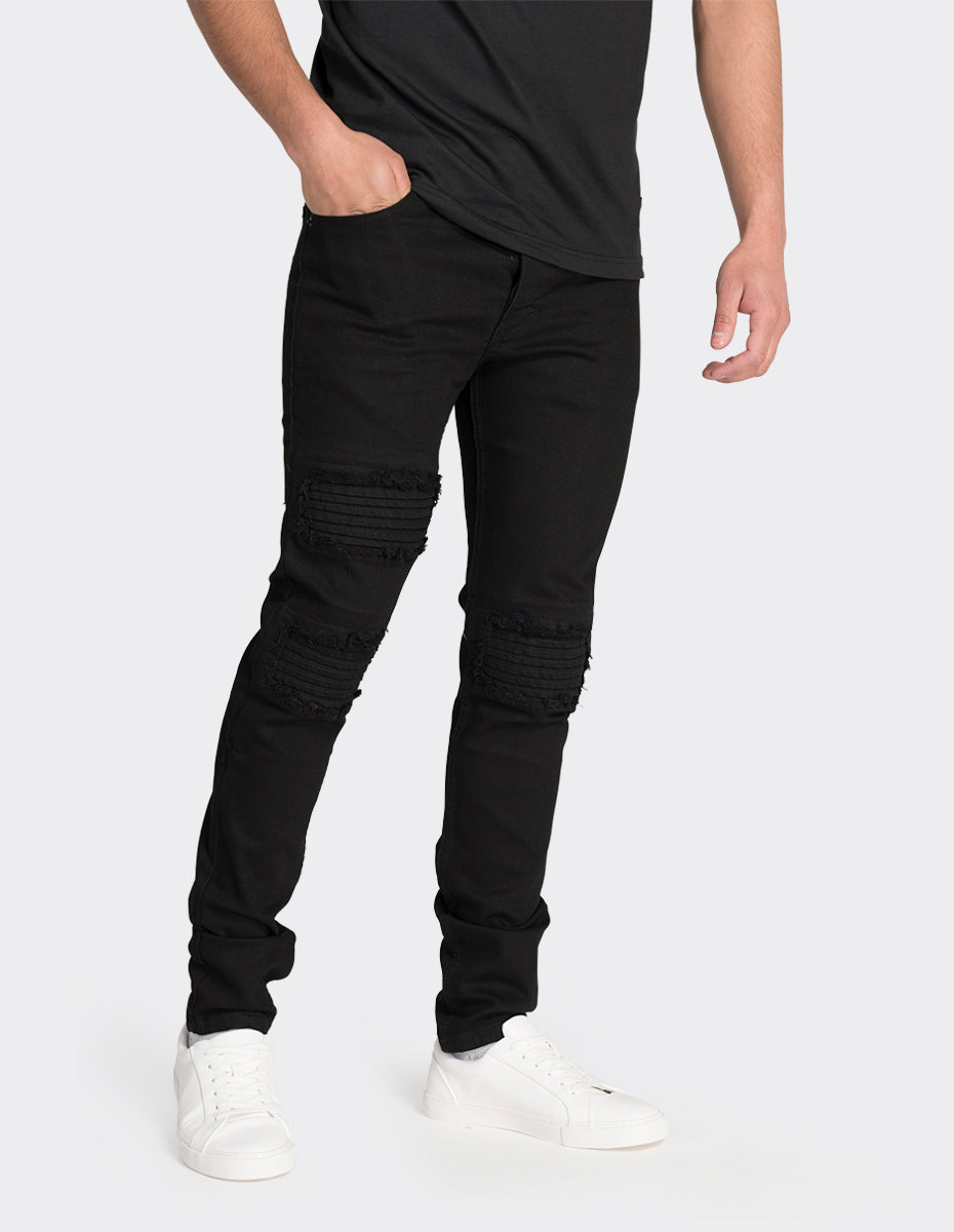 Black skinny fit washed jeans