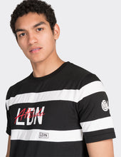 Load image into Gallery viewer, Black front stripe printed t-shirt