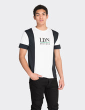 Load image into Gallery viewer, Navy 'LDN' vertical blocked t-shirt