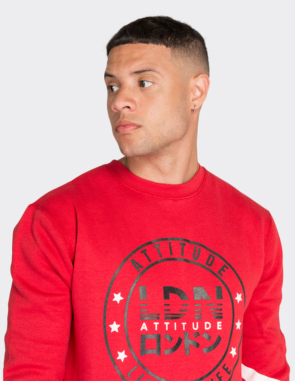 Red sleeve print sweatshirt