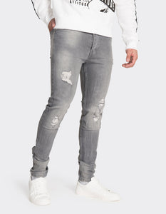 Grey skinny fit distressed jeans