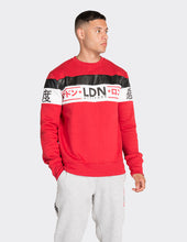 Load image into Gallery viewer, Red and white PU stripe printed sweatshirt