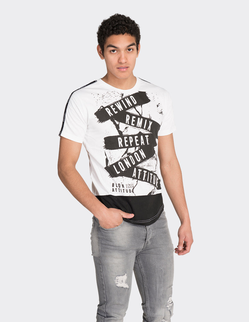 White tape print t-shirt