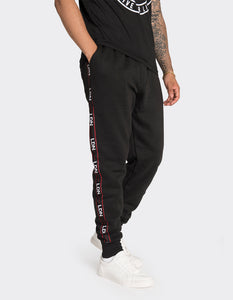 Black side stripe printed joggers